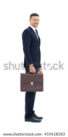 Business man with suitcase  isolated on white background - stock photo
