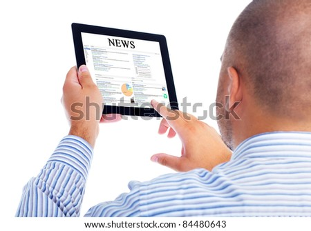 Business man with tablet computer. Isolated over white background. - stock photo