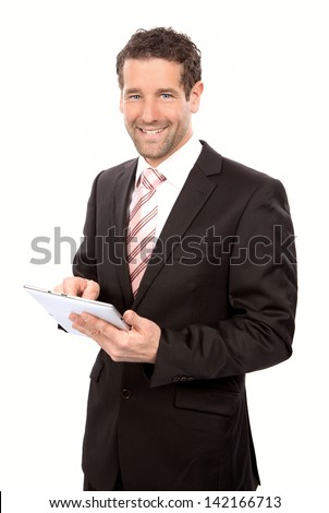 Business man with tablet PC in his hands - stock photo