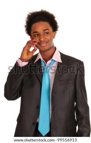 business man with tablet PC in studio - stock photo