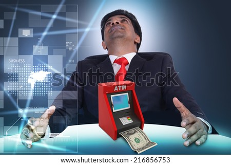 Business man with teller machine - stock photo