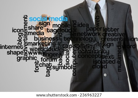 Business man with virtual interface of social media wordcloud  - stock photo