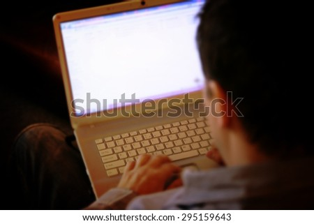 Business man working at laptop. - stock photo
