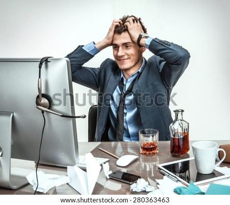 Business man working problem using computer looking at screen, hold head hand pain, ache, businessman tired, overworked sitting at the desk stress, at office, computer error concept - stock photo