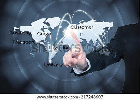 Business man working with virtual interface use for Logistics background - stock photo
