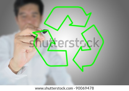 business man write recycle sign - stock photo