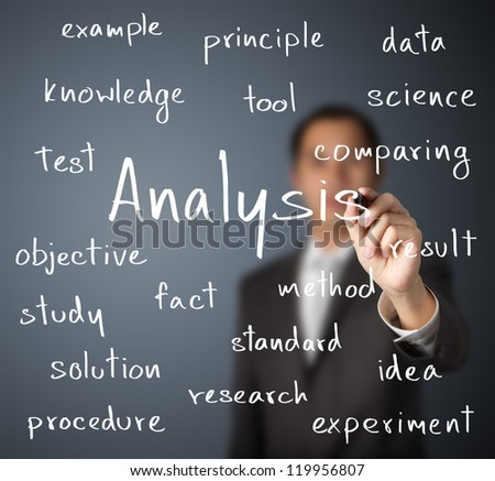 business man writing analysis concept - stock photo