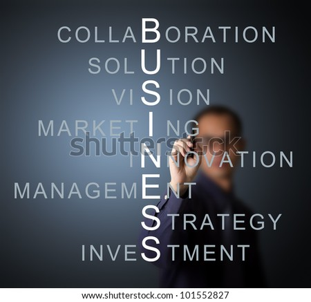 business man writing business concept by crossword component ( vision - strategy - management - investment - innovation collaboration - marketing - solution ) - stock photo
