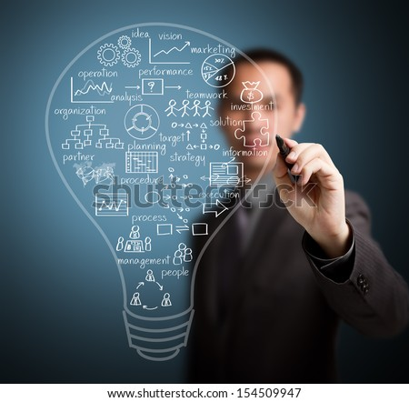 business man writing business idea concept - stock photo