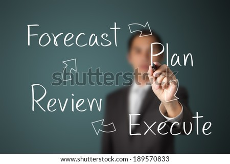 business man writing business improvement circle : forecast - plan - review - execute - stock photo