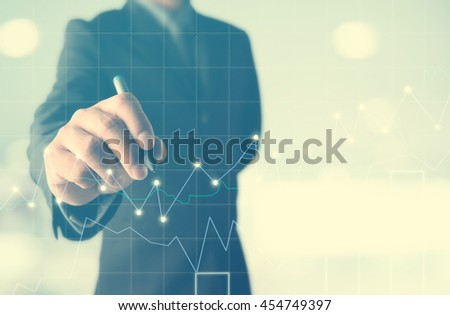 business man writing , Business Trading concept,Forex graph - stock photo