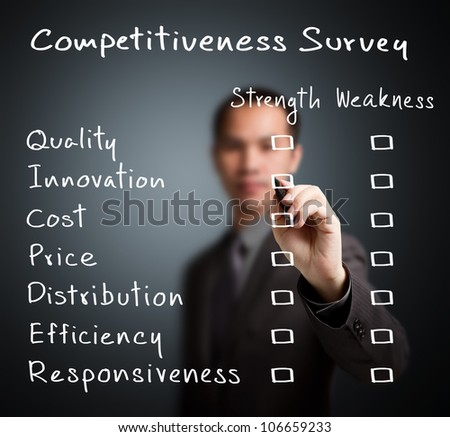 business man writing competitiveness survey form of business strength and weakness ( quality, innovation, cost, price, distribution, efficiency, responsiveness ) - stock photo