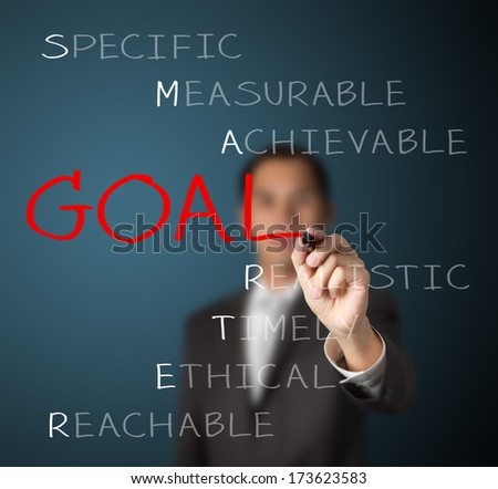 business man writing  concept of smarter goal setting - stock photo