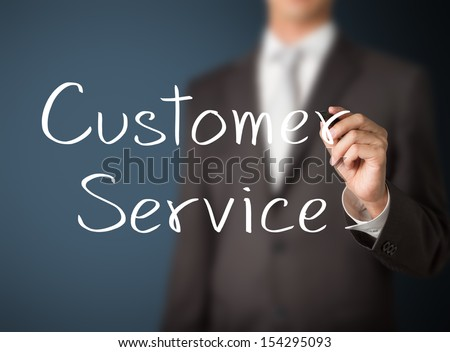 business man writing customer service - stock photo