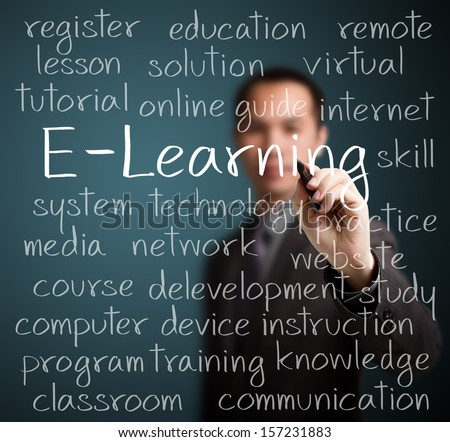 business man writing e-learning concept - stock photo