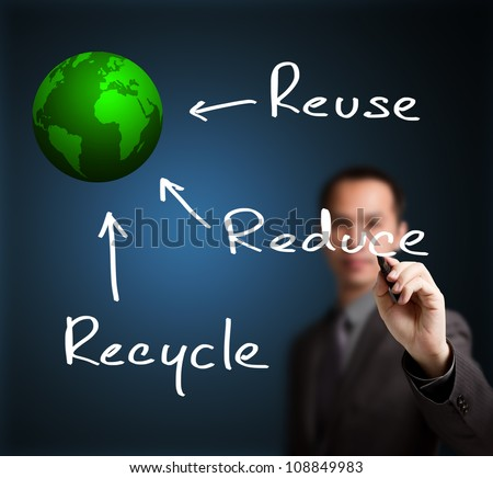 business man writing ecology concept of reduce reuse and recycle make green world - stock photo