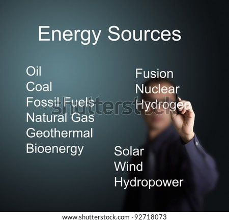 business man writing energy sources on whiteboard - stock photo