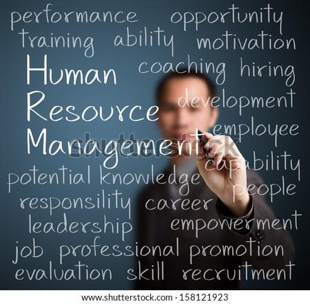 business man writing human resource management concept - stock photo