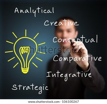 business man writing human thinking concept - stock photo