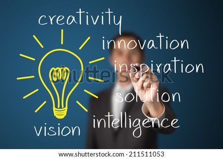 business man writing idea concept - stock photo