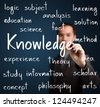 business man writing knowledge concept - stock photo