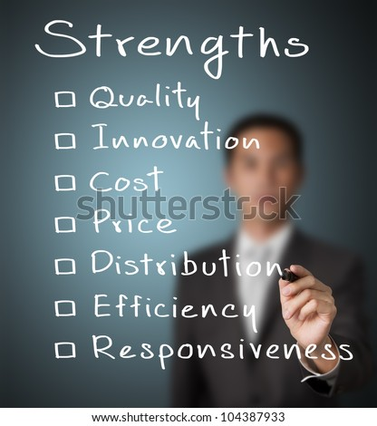 business man writing list of business strength ( quality, innovation, cost, price, distribution, efficiency, responsiveness ) - stock photo