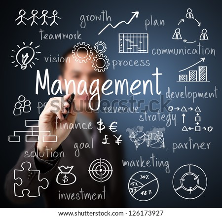 business man writing management scheme - stock photo
