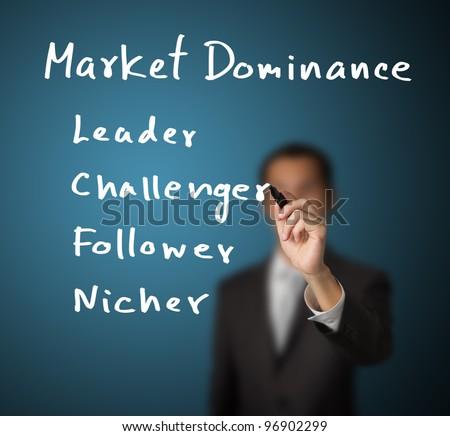 business man writing marketing concept - four type of market dominance ( leader - challenger - follower - nicher ) - stock photo