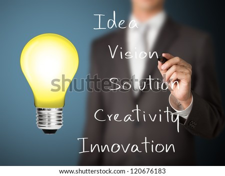 business man writing meaning of light bulb sign - stock photo