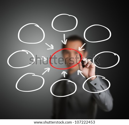 business man writing one core centralize from eight component diagram in blank - stock photo