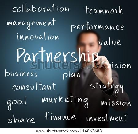 business man writing partnership concept - stock photo