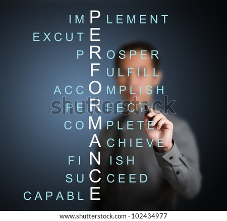 business man writing performance concept by crossword of relate word such as achieve, complete, prosper, accomplish, perfect, etc. - stock photo