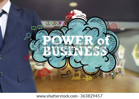 business man writing POWER OF BUSINESS over the cloud with office background , business concept , business idea - stock photo
