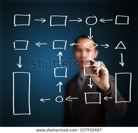 business man writing process flowchart diagram on whiteboard - stock photo