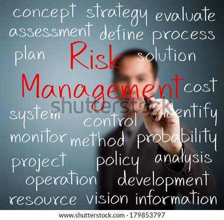 business man writing risk management concept - stock photo