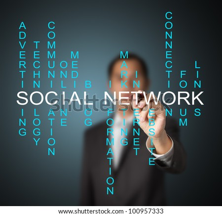 business man writing social network concept by crossword of relate word such as internet, technology, advertising, online, marketing etc. - stock photo