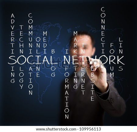 business man writing social network concept by crossword of relate word with world map background - stock photo