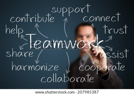 business man writing teamwork concept - stock photo