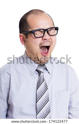Business man yawning - stock photo
