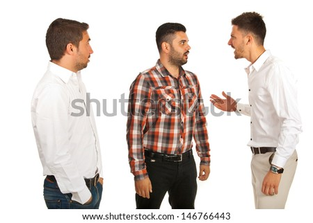 Business man yelling at his colleague and other man being surprised isolated on white background - stock photo