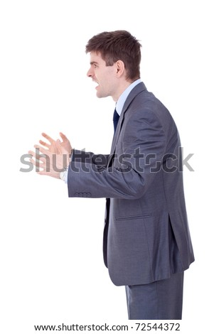 Business man Yelling From The Side , over white - stock photo