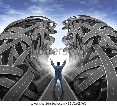 Business Management with a businessman with his arms in the air parting the sea of confused tangled roads and highways to open a path to success as a leadership concept of overcoming challenges. - stock photo