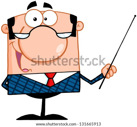 Business Manager Gesturing With A Pointer Stick. Raster Illustration.Vector Version Also Available In Portfolio. - stock photo