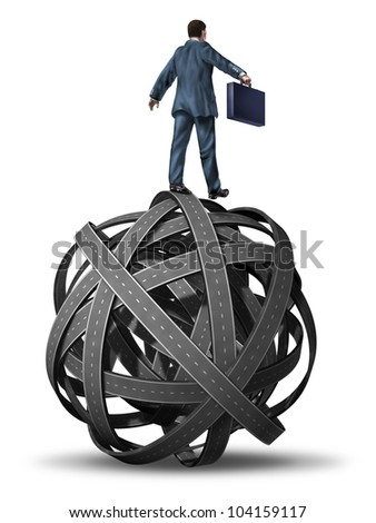 Business manager skill in directing complex problems and challenges  represented with a businessman on a tangled ball of highways rolling and guiding the chaos to a successful goal. - stock photo