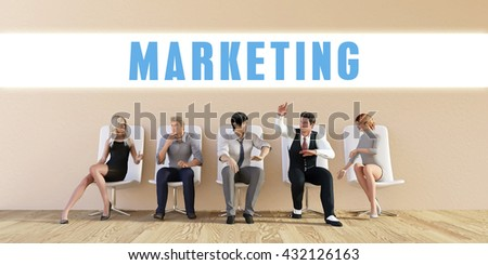 Business Marketing Being Discussed in a Group Meeting 3D Illustration Render - stock photo