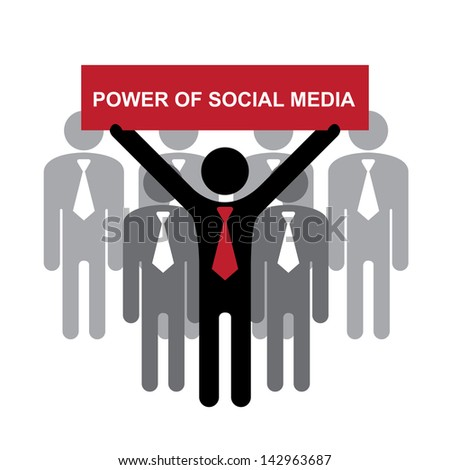 Business, Marketing or Financial Concept Present By Group of Businessman With Red Power of Social Media Sign Isolated on White Background - stock photo