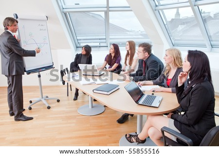 business meeting at the round table in the office - stock photo
