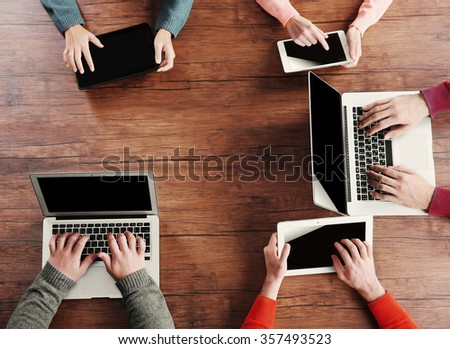 Business meeting at the table, top view - stock photo