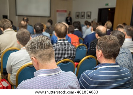 Business meeting in a conference hall. - stock photo