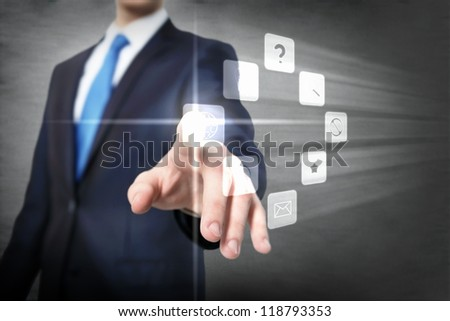 Business meeting in a virtual space conceptual business illustration. - stock photo